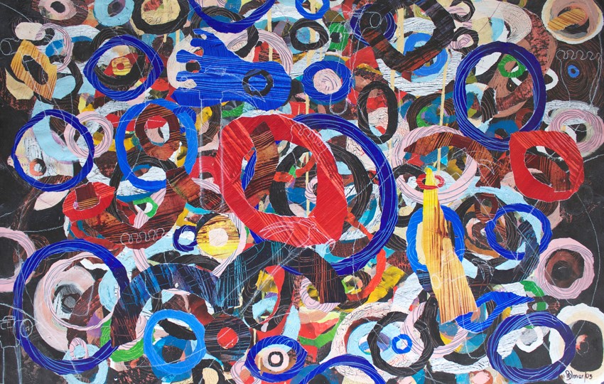"America, Monday morning by Joan Belmar (mixed media on paper, 30"" x 43.5"") 2005"