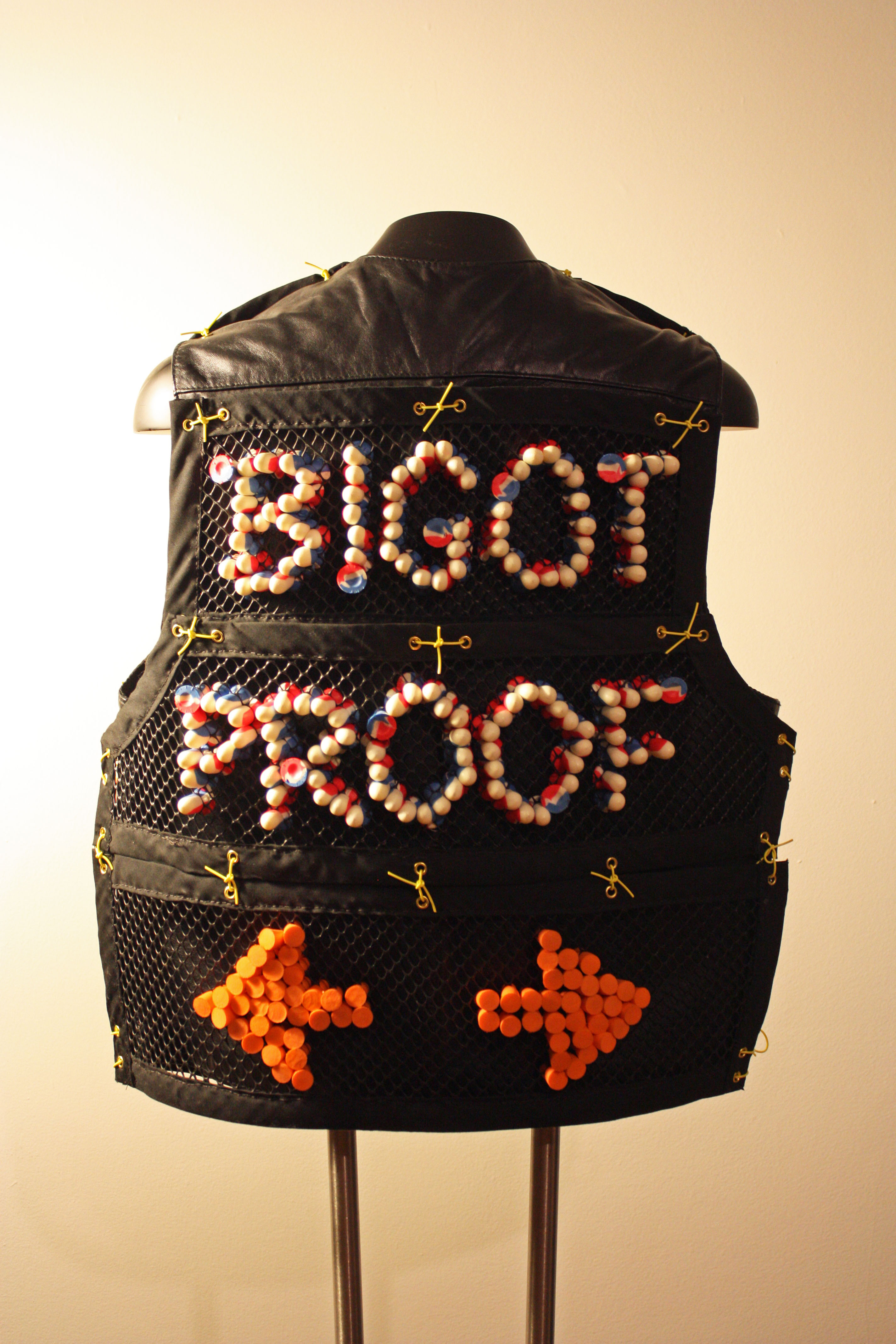 Bigot Proof Vest by KM Ramich (wearable assemblage) 2017
